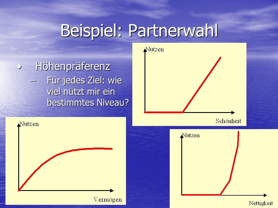 Beispiel: Partnerwahl HöhenpräferenzHöhenpräferenz –Für jedes Ziel: wie viel nützt mir ein bestimmtes Niveau?