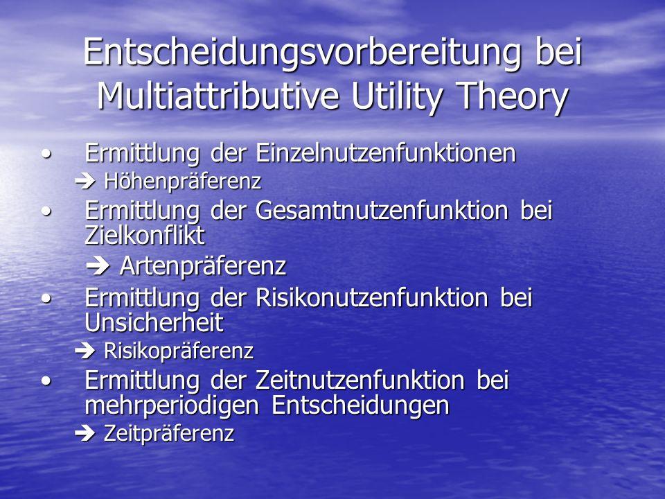 Entscheidungsvorbereitung bei Multiattributive Utility Theory Ermittlung der EinzelnutzenfunktionenErmittlung der Einzelnutzenfunktionen Höhenpräferen