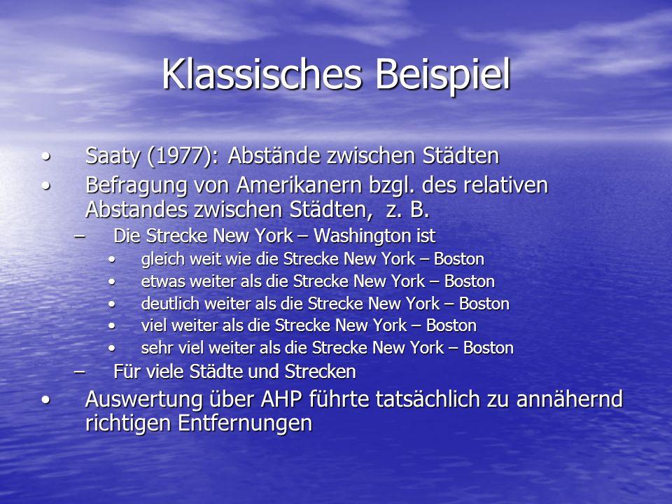 Klassisches Beispiel Saaty (1977): Abstände zwischen StädtenSaaty (1977): Abstände zwischen Städten Befragung von Amerikanern bzgl. des relativen Abst