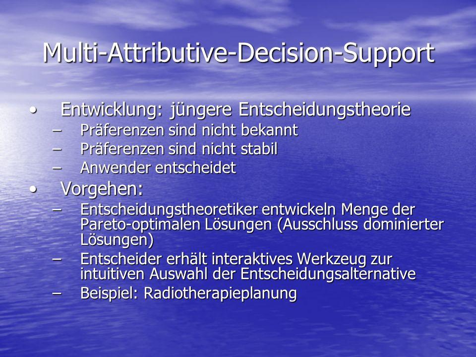 Multi-Attributive-Decision-Support Entwicklung: jüngere EntscheidungstheorieEntwicklung: jüngere Entscheidungstheorie –Präferenzen sind nicht bekannt