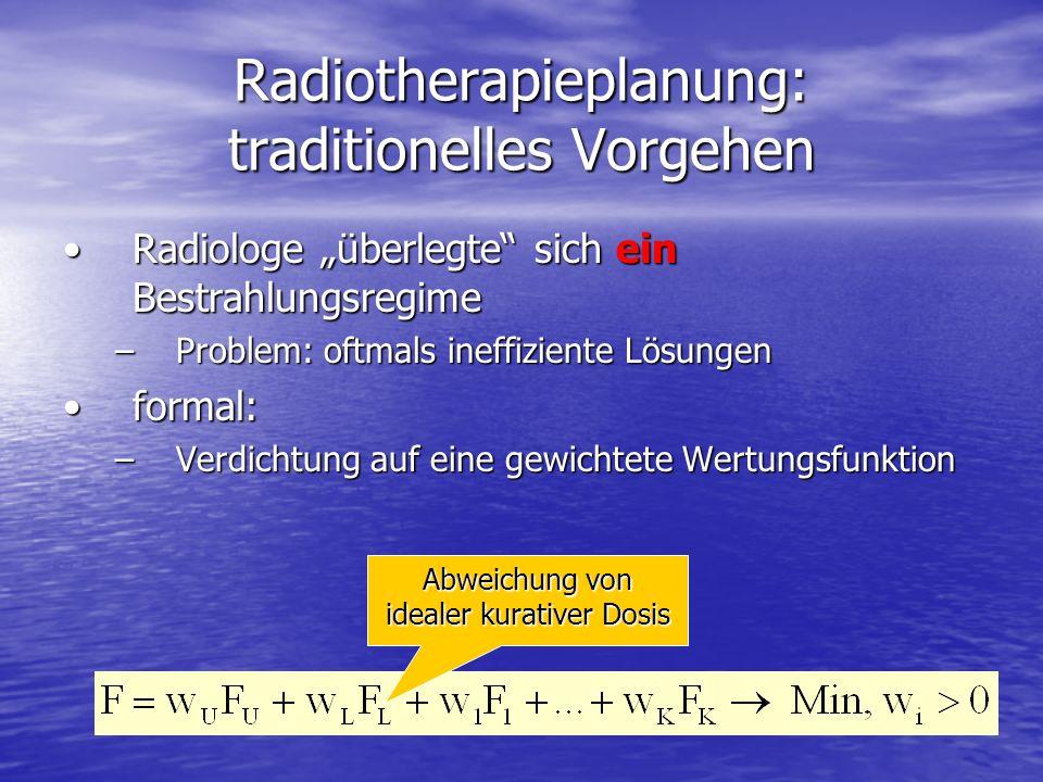 Radiotherapieplanung: traditionelles Vorgehen Radiologe überlegte sich ein BestrahlungsregimeRadiologe überlegte sich ein Bestrahlungsregime –Problem: