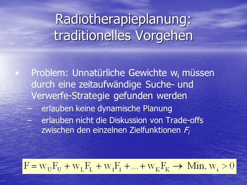 Radiotherapieplanung: traditionelles Vorgehen Problem: Unnatürliche Gewichte w i müssen durch eine zeitaufwändige Suche- und Verwerfe-Strategie gefund
