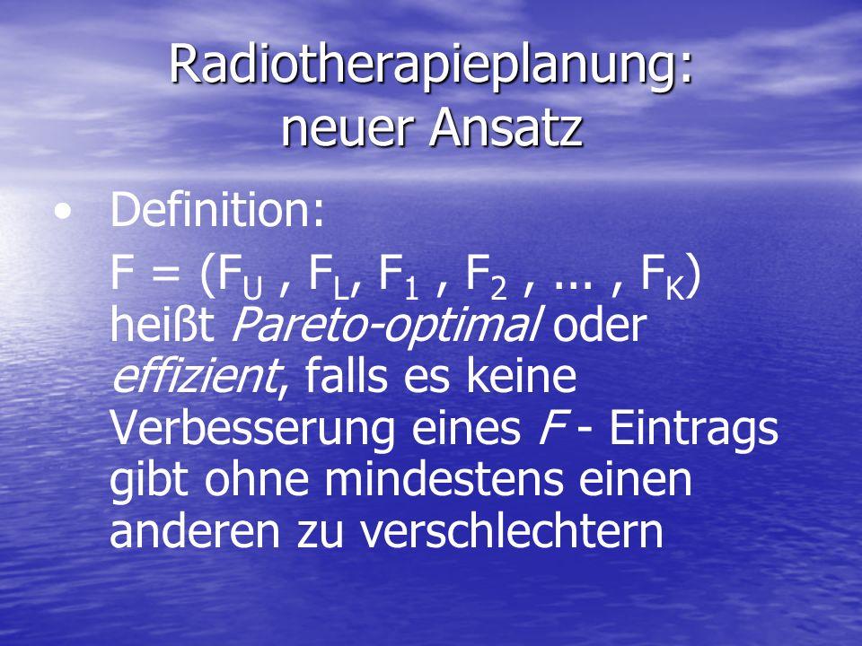 Definition: F = (F U, F L, F 1, F 2,..., F K ) heißt Pareto-optimal oder effizient, falls es keine Verbesserung eines F - Eintrags gibt ohne mindesten
