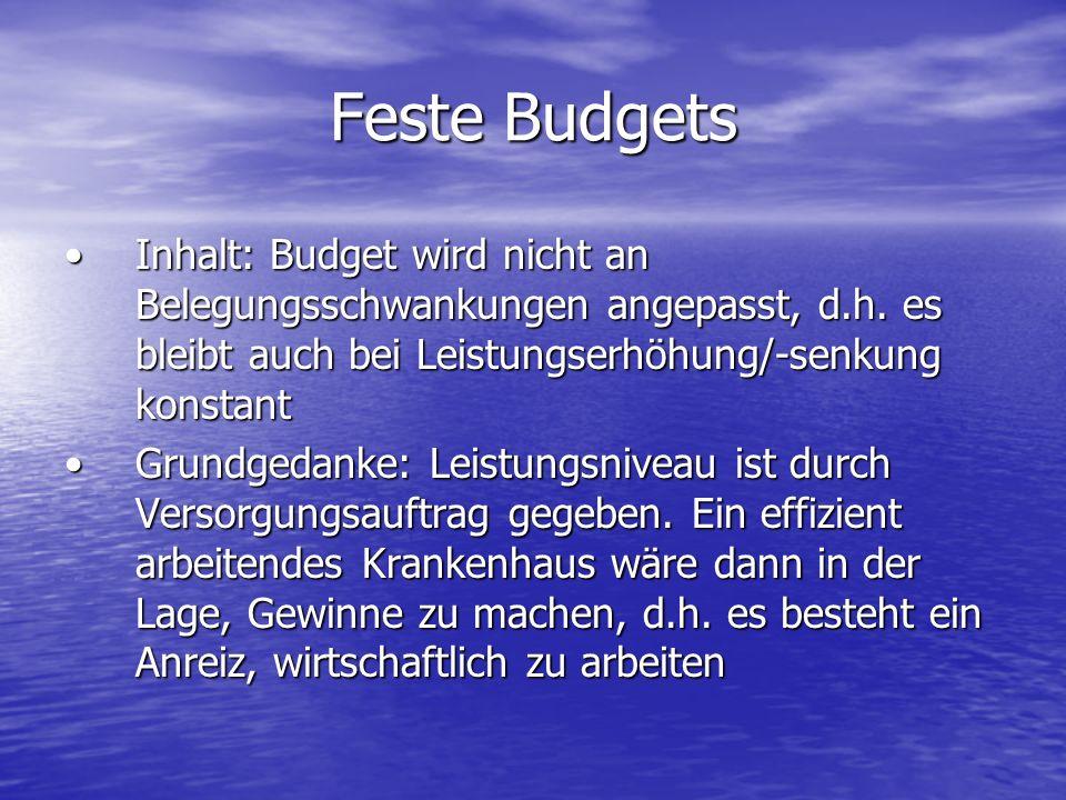 Feste Budgets Inhalt: Budget wird nicht an Belegungsschwankungen angepasst, d.h. es bleibt auch bei Leistungserhöhung/-senkung konstantInhalt: Budget