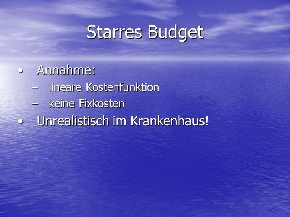 Starres Budget Annahme:Annahme: –lineare Kostenfunktion –keine Fixkosten Unrealistisch im Krankenhaus!Unrealistisch im Krankenhaus!