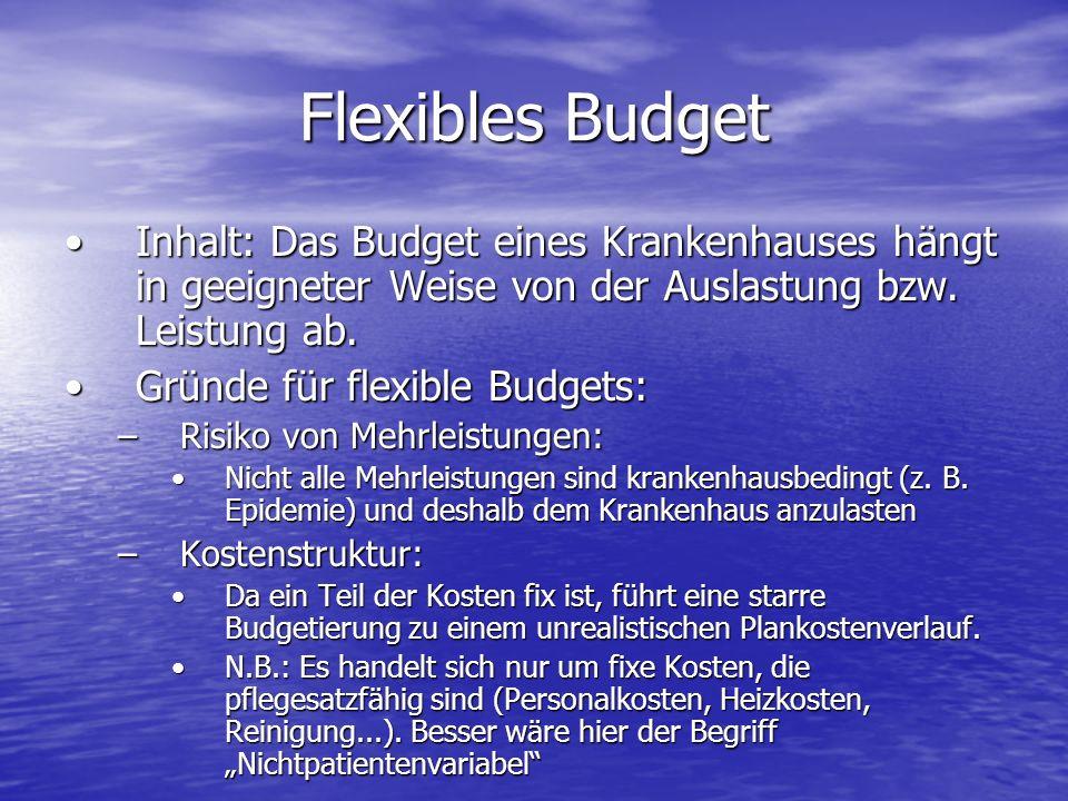 Flexibles Budget Inhalt: Das Budget eines Krankenhauses hängt in geeigneter Weise von der Auslastung bzw. Leistung ab.Inhalt: Das Budget eines Kranken