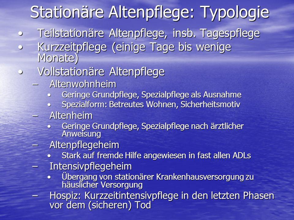 Stationäre Altenpflege: Typologie Teilstationäre Altenpflege, insb. TagespflegeTeilstationäre Altenpflege, insb. Tagespflege Kurzzeitpflege (einige Ta
