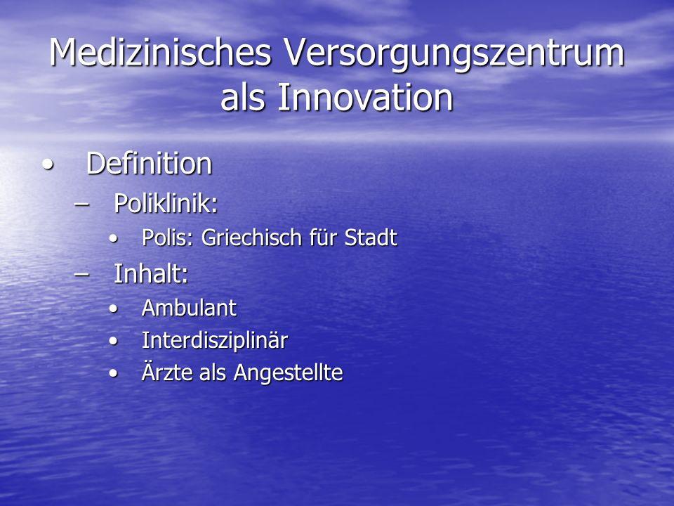 Medizinisches Versorgungszentrum als Innovation DefinitionDefinition –Poliklinik: Polis: Griechisch für StadtPolis: Griechisch für Stadt –Inhalt: Ambu