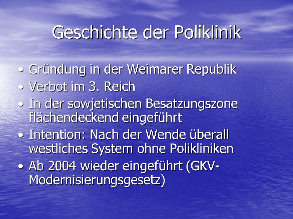 Geschichte der Poliklinik Gründung in der Weimarer RepublikGründung in der Weimarer Republik Verbot im 3. ReichVerbot im 3. Reich In der sowjetischen