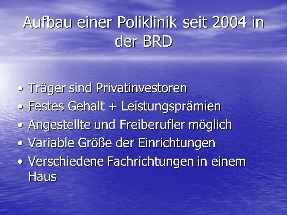 Aufbau einer Poliklinik seit 2004 in der BRD Träger sind PrivatinvestorenTräger sind Privatinvestoren Festes Gehalt + LeistungsprämienFestes Gehalt +