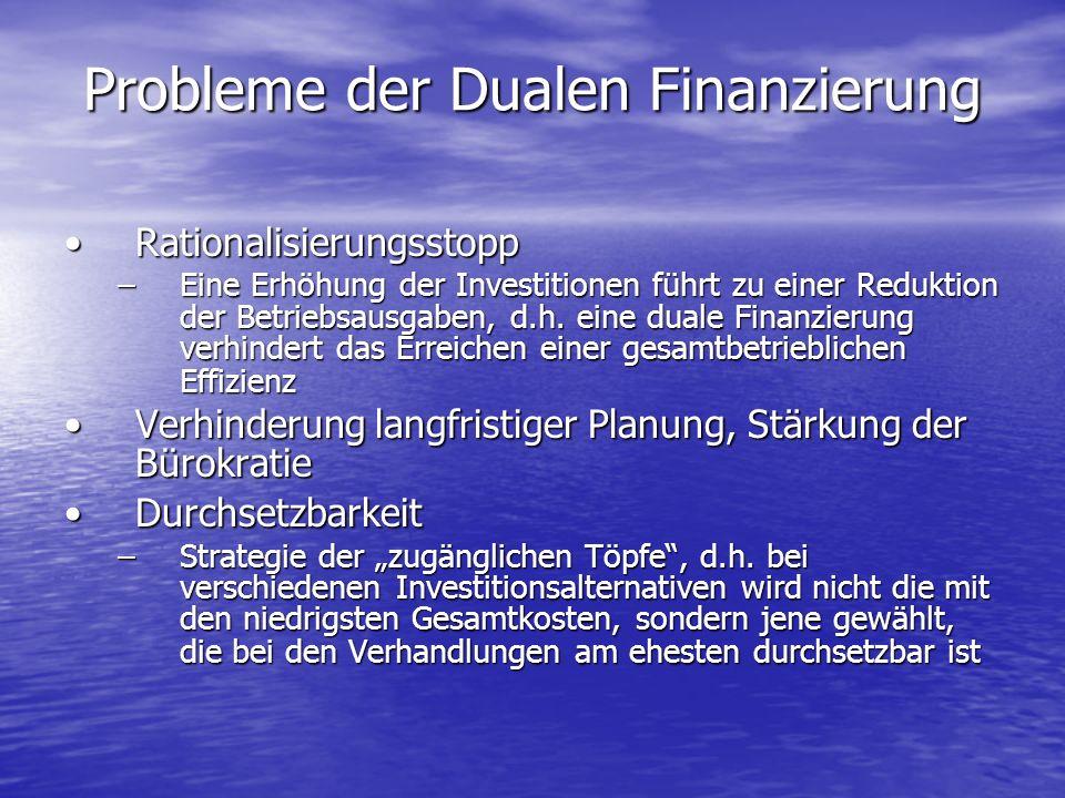 Probleme der Dualen Finanzierung RationalisierungsstoppRationalisierungsstopp –Eine Erhöhung der Investitionen führt zu einer Reduktion der Betriebsau