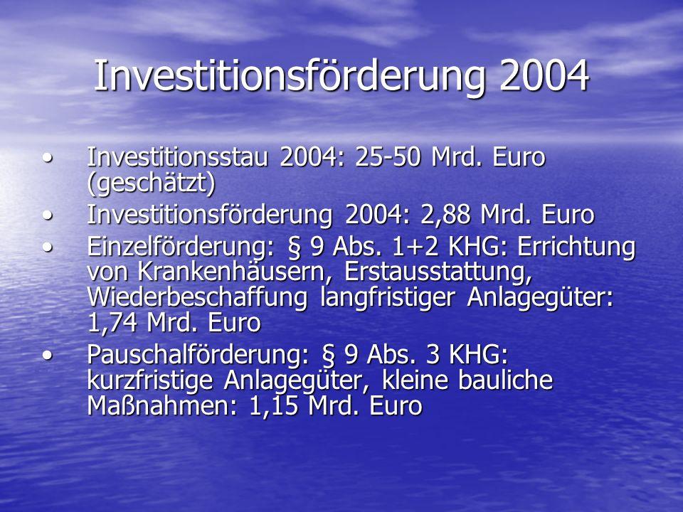 Investitionsförderung 2004 Investitionsstau 2004: 25-50 Mrd. Euro (geschätzt)Investitionsstau 2004: 25-50 Mrd. Euro (geschätzt) Investitionsförderung