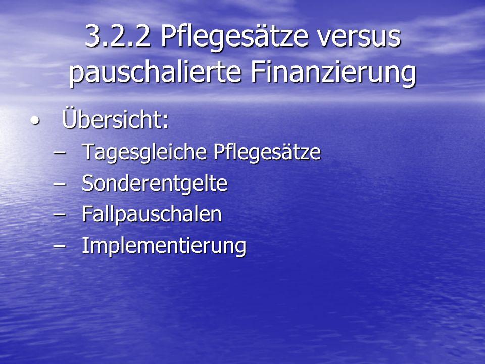 3.2.2 Pflegesätze versus pauschalierte Finanzierung Übersicht:Übersicht: –Tagesgleiche Pflegesätze –Sonderentgelte –Fallpauschalen –Implementierung