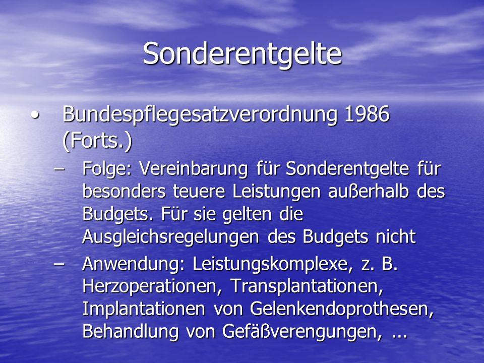 Bundespflegesatzverordnung 1986 (Forts.)Bundespflegesatzverordnung 1986 (Forts.) –Folge: Vereinbarung für Sonderentgelte für besonders teuere Leistung