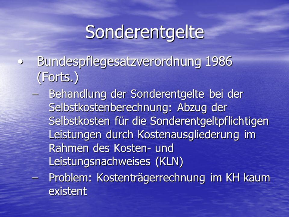 Bundespflegesatzverordnung 1986 (Forts.)Bundespflegesatzverordnung 1986 (Forts.) –Behandlung der Sonderentgelte bei der Selbstkostenberechnung: Abzug