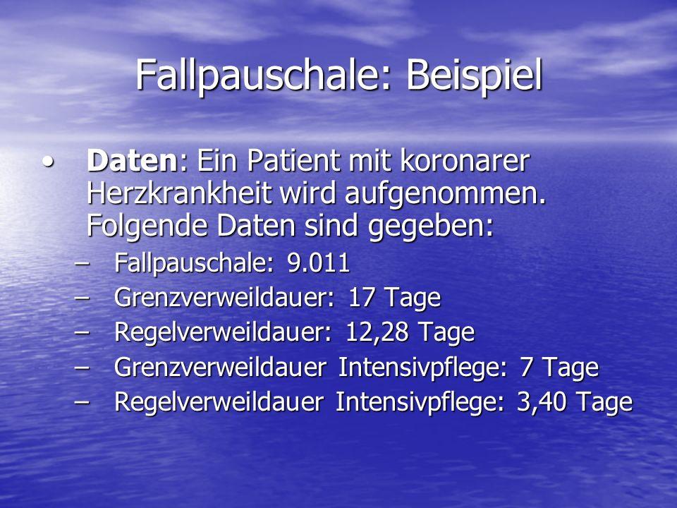 Fallpauschale: Beispiel Daten: Ein Patient mit koronarer Herzkrankheit wird aufgenommen. Folgende Daten sind gegeben:Daten: Ein Patient mit koronarer