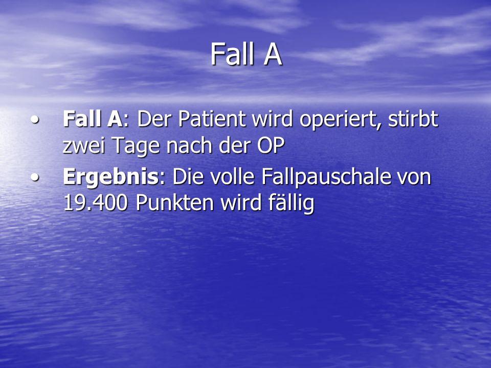Fall A Fall A: Der Patient wird operiert, stirbt zwei Tage nach der OPFall A: Der Patient wird operiert, stirbt zwei Tage nach der OP Ergebnis: Die vo