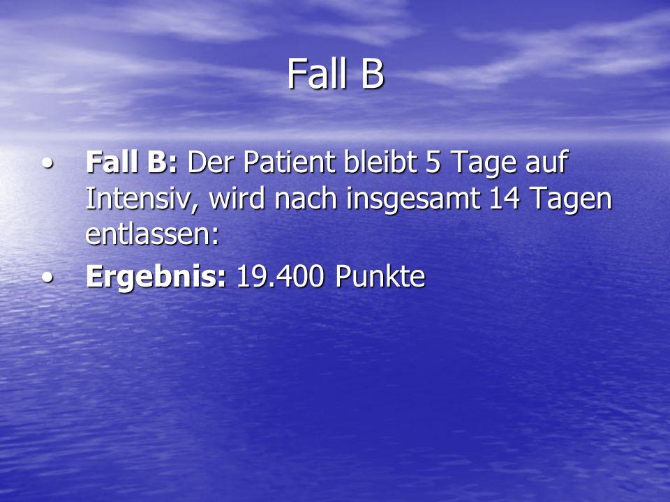 Fall B Fall B: Der Patient bleibt 5 Tage auf Intensiv, wird nach insgesamt 14 Tagen entlassen:Fall B: Der Patient bleibt 5 Tage auf Intensiv, wird nac
