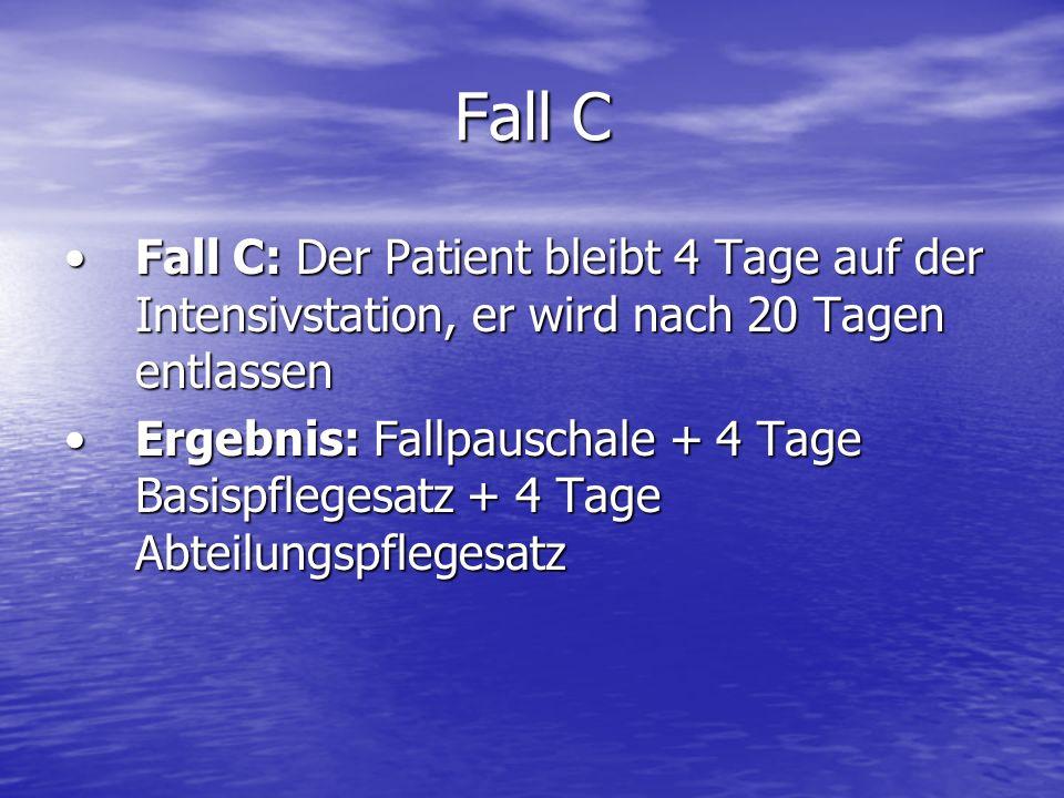 Fall C Fall C: Der Patient bleibt 4 Tage auf der Intensivstation, er wird nach 20 Tagen entlassenFall C: Der Patient bleibt 4 Tage auf der Intensivsta