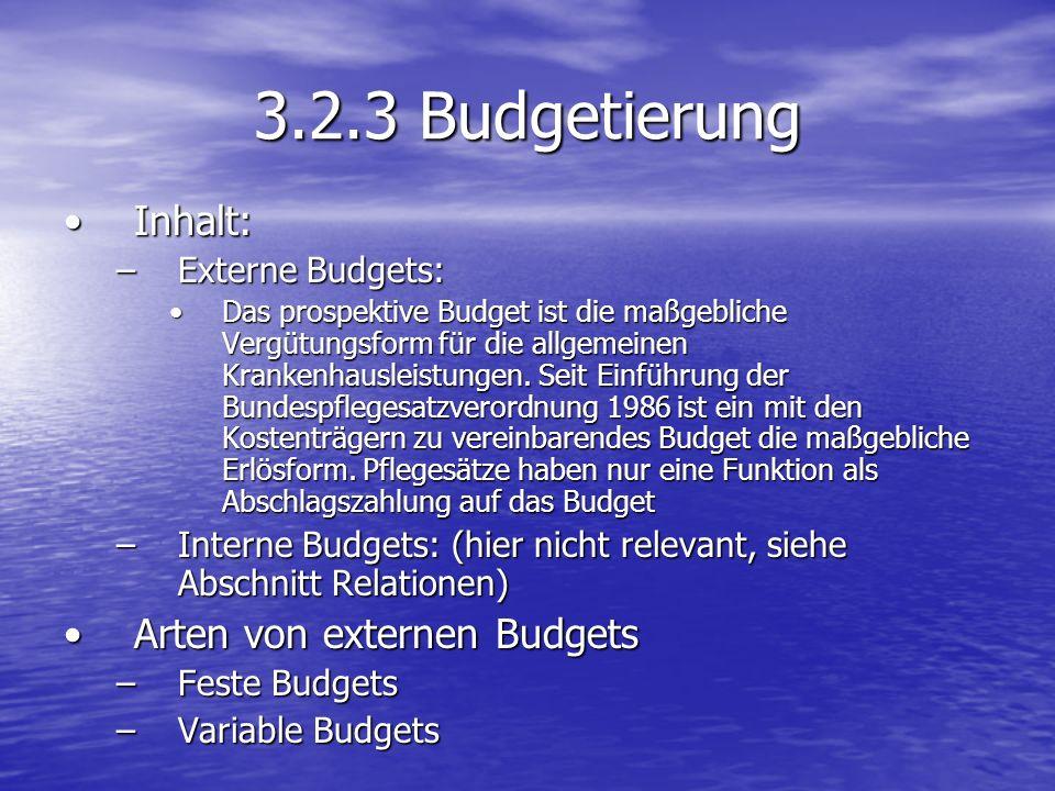 3.2.3 Budgetierung Inhalt:Inhalt: –Externe Budgets: Das prospektive Budget ist die maßgebliche Vergütungsform für die allgemeinen Krankenhausleistunge