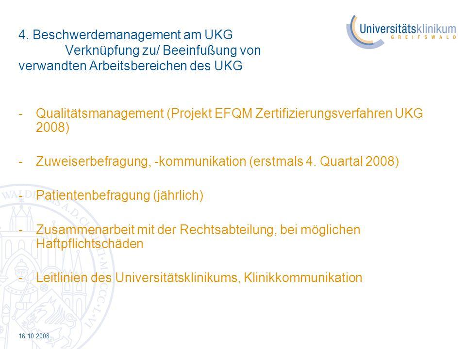 16.10.2008 4. Beschwerdemanagement am UKG Verknüpfung zu/ Beeinfußung von verwandten Arbeitsbereichen des UKG -Qualitätsmanagement (Projekt EFQM Zerti