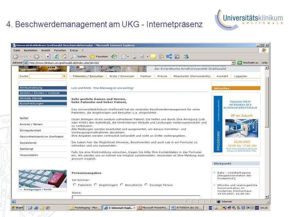 16.10.2008 4. Beschwerdemanagement am UKG - Internetpräsenz
