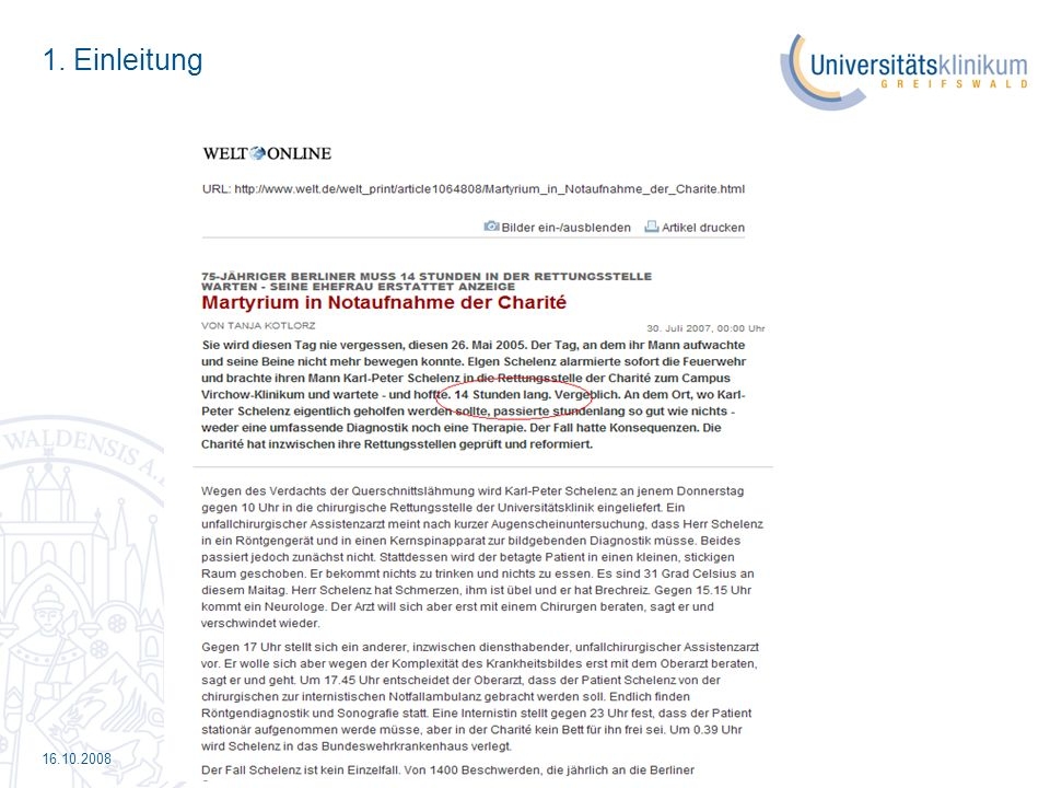16.10.2008 5.Praktische Beispiele Alltag im UKG Auswertung des 2.
