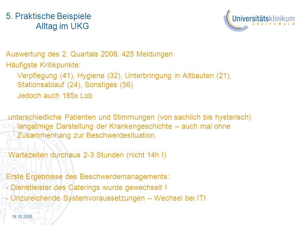 16.10.2008 5. Praktische Beispiele Alltag im UKG Auswertung des 2. Quartals 2008: 425 Meldungen Häufigste Kritikpunkte: Verpflegung (41), Hygiene (32)
