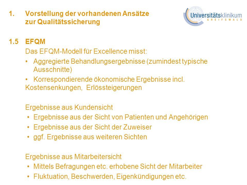 1. Vorstellung der vorhandenen Ansätze zur Qualitätssicherung 1.5EFQM Das EFQM-Modell für Excellence misst: Aggregierte Behandlungsergebnisse (zuminde