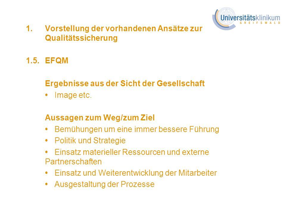 1. Vorstellung der vorhandenen Ansätze zur Qualitätssicherung 1.5.EFQM Ergebnisse aus der Sicht der Gesellschaft Image etc. Aussagen zum Weg/zum Ziel