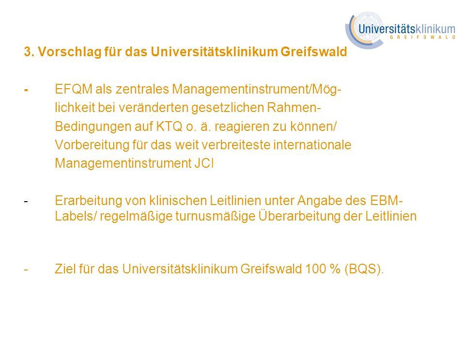 3. Vorschlag für das Universitätsklinikum Greifswald -EFQM als zentrales Managementinstrument/Mög- lichkeit bei veränderten gesetzlichen Rahmen- Bedin