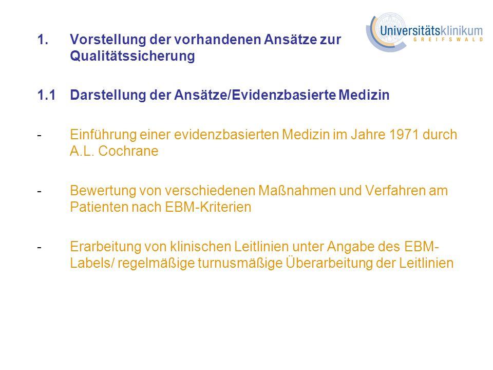 1.Vorstellung der vorhandenen Ansätze zur Qualitätssicherung 1.1Darstellung der Ansätze/Evidenzbasierte Medizin -Einführung einer evidenzbasierten Med