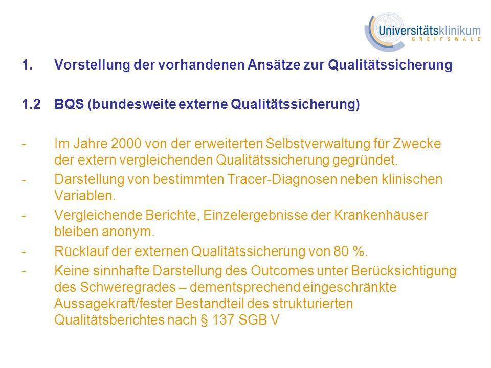 1.Vorstellung der vorhandenen Ansätze zur Qualitätssicherung 2.Kurzbeschreibung der Ansätze und deren Wertung 3.Vorschlag für das Universitätsklinikum Greifswald 4.Abstimmung der notwendigen Schritte Gliederung