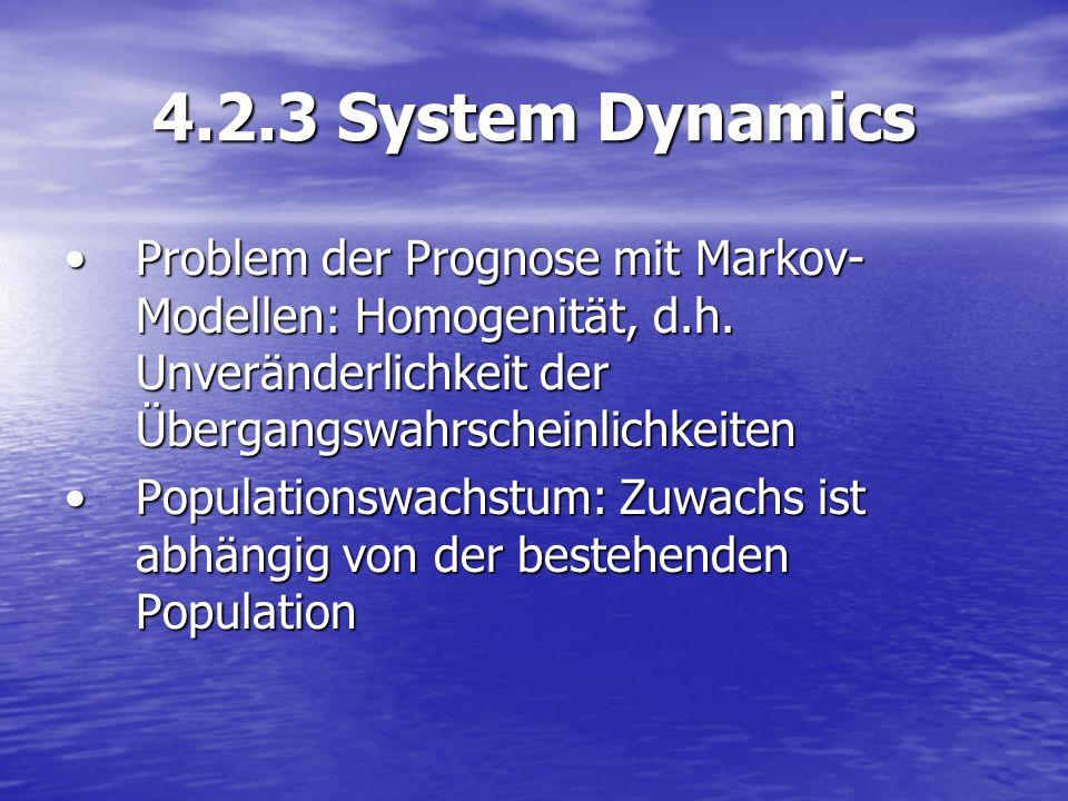 4.2.3 System Dynamics Problem der Prognose mit Markov- Modellen: Homogenität, d.h. Unveränderlichkeit der ÜbergangswahrscheinlichkeitenProblem der Pro
