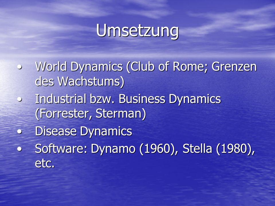Umsetzung World Dynamics (Club of Rome; Grenzen des Wachstums)World Dynamics (Club of Rome; Grenzen des Wachstums) Industrial bzw. Business Dynamics (