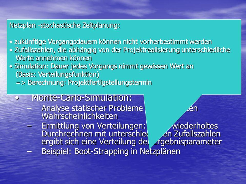 Arten Deterministische Simulation: Eintritt von Ereignissen sicherDeterministische Simulation: Eintritt von Ereignissen sicher Stochastische Simulatio