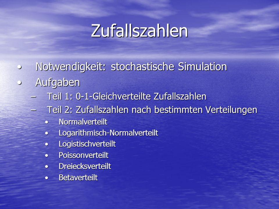 Zufallszahlen Notwendigkeit: stochastische SimulationNotwendigkeit: stochastische Simulation AufgabenAufgaben –Teil 1: 0-1-Gleichverteilte Zufallszahl