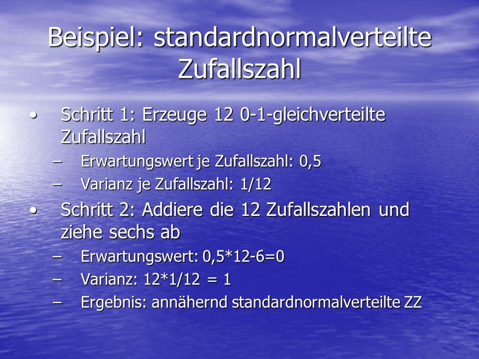 Beispiel: standardnormalverteilte Zufallszahl Schritt 1: Erzeuge 12 0-1-gleichverteilte ZufallszahlSchritt 1: Erzeuge 12 0-1-gleichverteilte Zufallsza