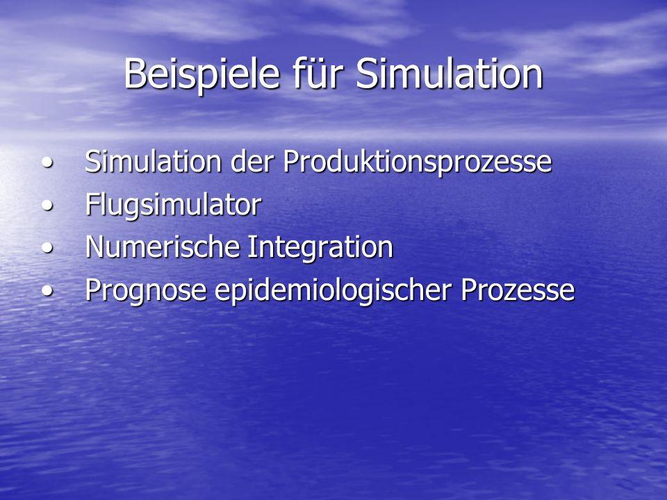 Beispiele für Simulation Simulation der ProduktionsprozesseSimulation der Produktionsprozesse FlugsimulatorFlugsimulator Numerische IntegrationNumeris
