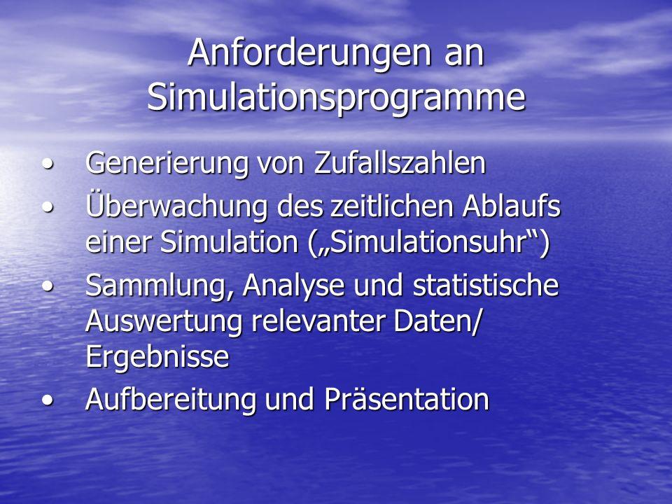 Anforderungen an Simulationsprogramme Generierung von ZufallszahlenGenerierung von Zufallszahlen Überwachung des zeitlichen Ablaufs einer Simulation (