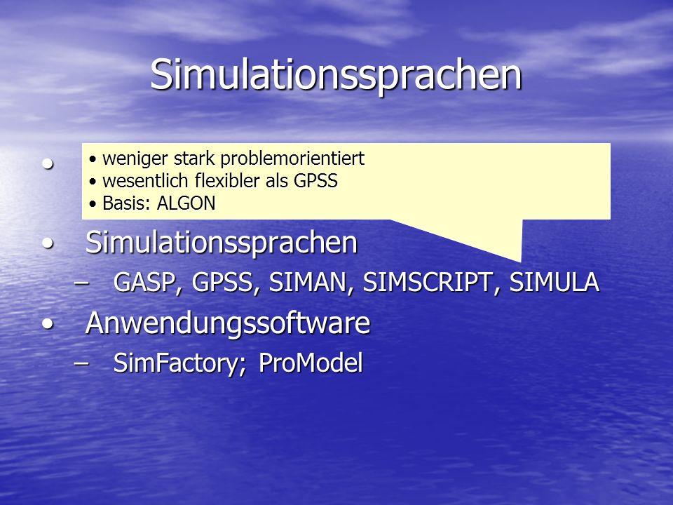 Simulationssprachen Programmiersprachen (Fortran, C, Delphi,…)Programmiersprachen (Fortran, C, Delphi,…) SimulationssprachenSimulationssprachen –GASP,