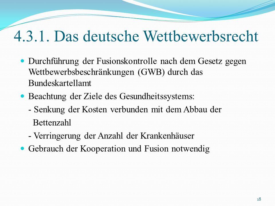 4.3.1. Das deutsche Wettbewerbsrecht Durchführung der Fusionskontrolle nach dem Gesetz gegen Wettbewerbsbeschränkungen (GWB) durch das Bundeskartellam