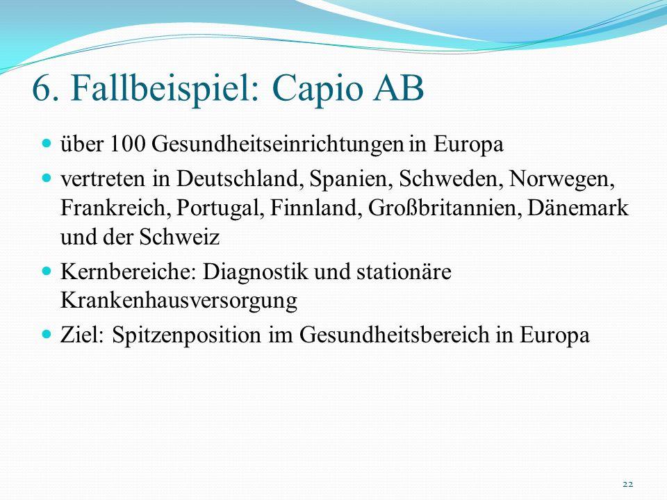 6. Fallbeispiel: Capio AB über 100 Gesundheitseinrichtungen in Europa vertreten in Deutschland, Spanien, Schweden, Norwegen, Frankreich, Portugal, Fin