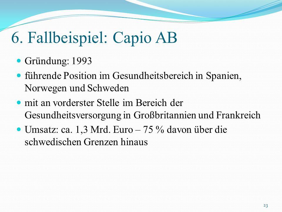 6. Fallbeispiel: Capio AB Gründung: 1993 führende Position im Gesundheitsbereich in Spanien, Norwegen und Schweden mit an vorderster Stelle im Bereich