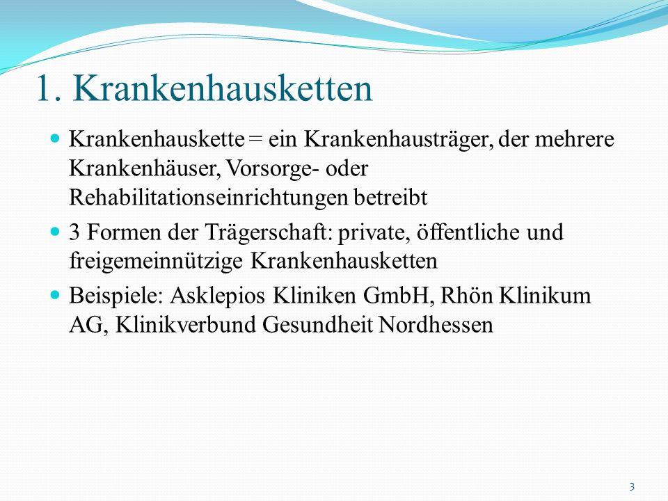 1. Krankenhausketten Krankenhauskette = ein Krankenhausträger, der mehrere Krankenhäuser, Vorsorge- oder Rehabilitationseinrichtungen betreibt 3 Forme