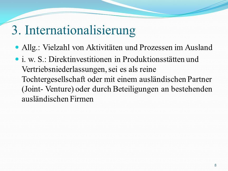 3. Internationalisierung Allg.: Vielzahl von Aktivitäten und Prozessen im Ausland i. w. S.: Direktinvestitionen in Produktionsstätten und Vertriebsnie