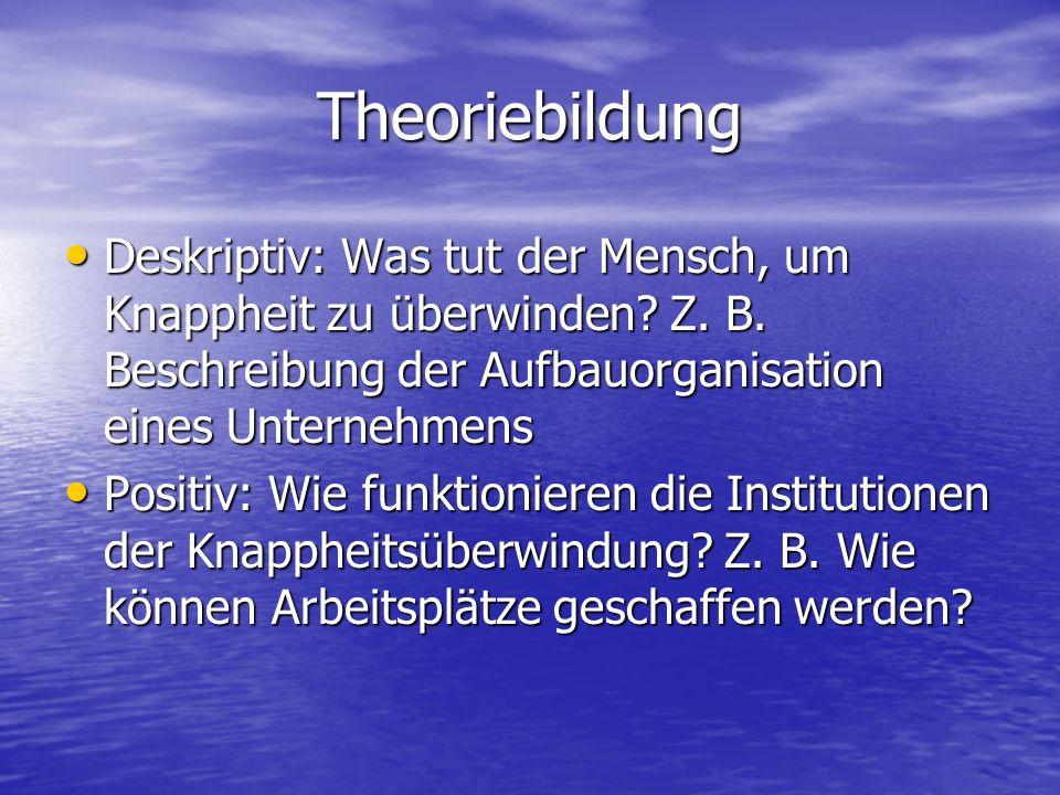 Theoriebildung Deskriptiv: Was tut der Mensch, um Knappheit zu überwinden? Z. B. Beschreibung der Aufbauorganisation eines Unternehmens Deskriptiv: Wa