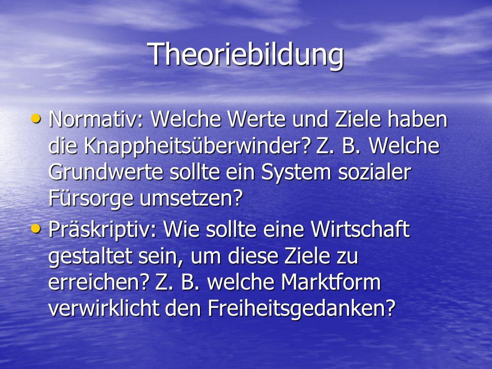 Theoriebildung Normativ: Welche Werte und Ziele haben die Knappheitsüberwinder.