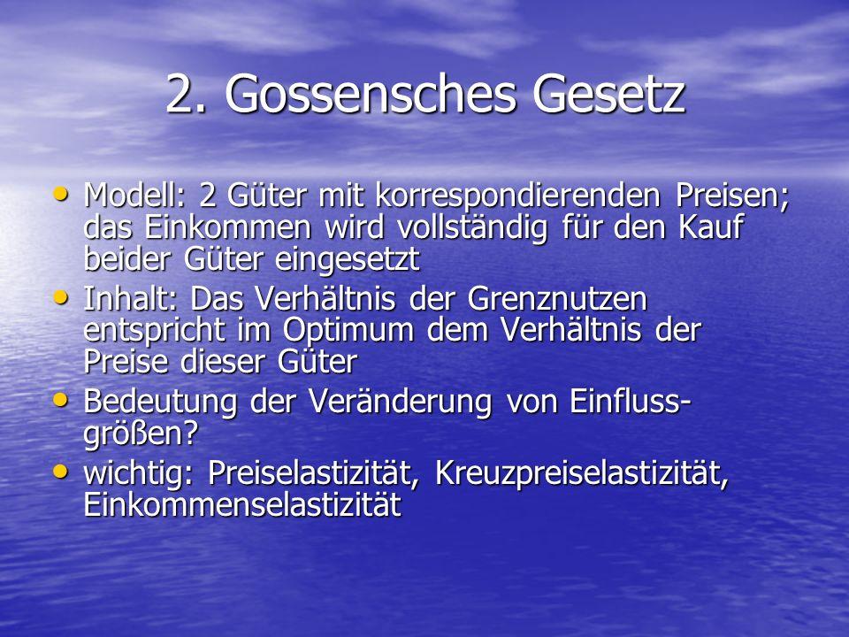2. Gossensches Gesetz Modell: 2 Güter mit korrespondierenden Preisen; das Einkommen wird vollständig für den Kauf beider Güter eingesetzt Modell: 2 Gü