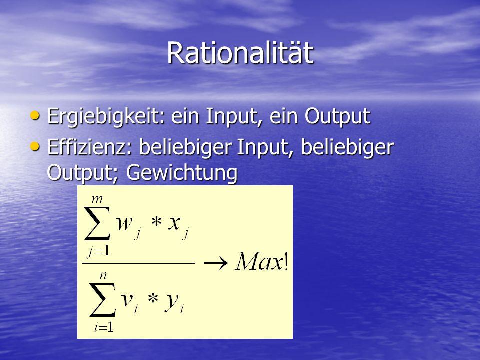 Rationalität Ergiebigkeit: ein Input, ein Output Ergiebigkeit: ein Input, ein Output Effizienz: beliebiger Input, beliebiger Output; Gewichtung Effizienz: beliebiger Input, beliebiger Output; Gewichtung